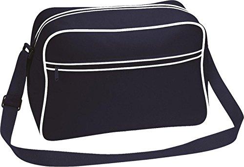 Neue Bagbas'Umhängetasche, Retro-Stil, verstellbar, mit Kontrast-Messenger Tasche - French Navy/Classic Red