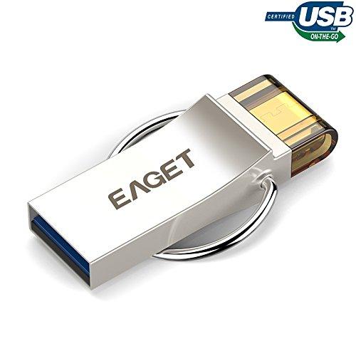 EAGET V90 PenDrive Micro USB 3.0 OTG Chiavette USB 16GB Metallo con Portachiavi per Smartphone (16 Gb Dual Flash)