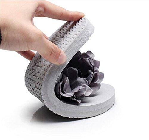Summens Tongs femme Sandales Pantoufles Flip-Flops Fleurs Sandales pantoufles été Chaussures Plage de Sable Thong Des Sandales Talon Compensé Talons 1.8CM