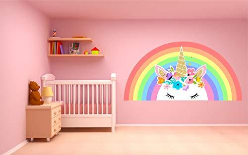 Kapowboom Graphics PASTEL UNICORN RAINBOW WALL STICKER decal art nursery cute girl