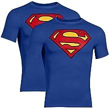 UNDER ARMOUR paquete de 2 Camisa de compresión de superhéroes Hombres, Batman, Capitán América, Flash, Superman, Punisher (Superman azul, XXL)