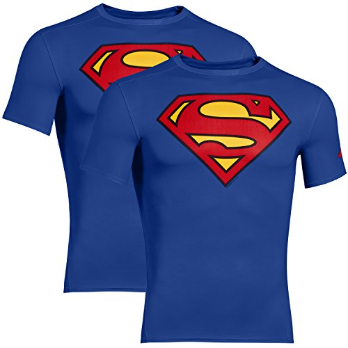 UNDER ARMOUR 2er Pack Superhelden Kompressionsshirt Herren, Batman, Captain America, Flash, Superman, Punisher (Superman Blau, XL) (Dc Graphic T-shirt)