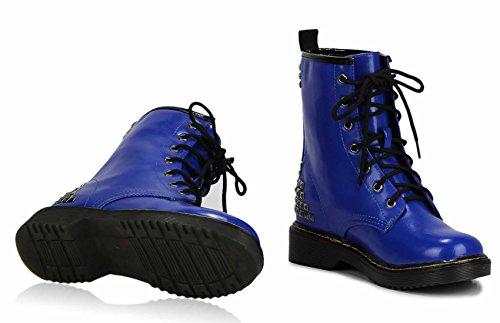 Overknee Stiefel Damen Schuhe Boots Klumpige Schule Stiefelparadies Qualitätschnüren Sich Kinder Größe 3-8 Stil 2 - Blau