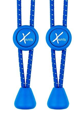Xunits Schnellschnürsystem - schleifenlos, Keine Schuhe binden - rund blau/reflektierend