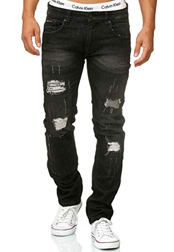Indicode Herren Ohio Jeans Destroy Denim Hosen Stretch Denim Regular Fit Black 32/32