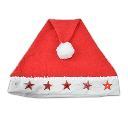 New Santa Hat with Flashing Lights Adult Size - Light Up Christmas Hat by GoodsOnline24/7