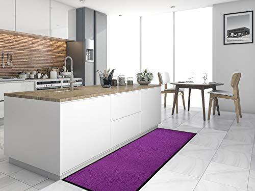 Primaflor - Ideen in Textil Küchenläufer Küchenvorleger Schmutzfangmatte CLEAN - Lila, 90x150 cm, Küchenteppich Schmutzfangläufer