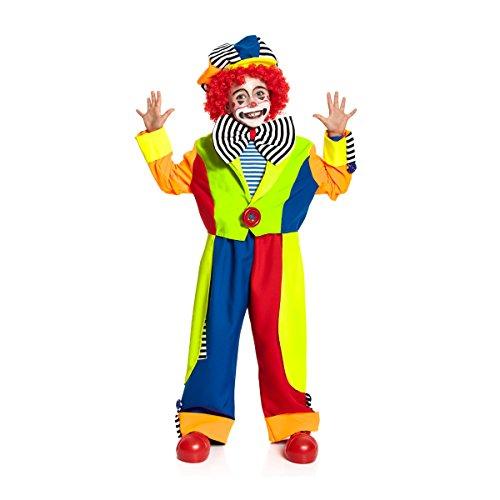 Kostümplanet Clown-Kostüm für Kinder mit Clown-Mütze und Fliege Größe: 164 Faschings-Verkleidung Karnevals-Kostüm - Jungen Clowns-Kostüm