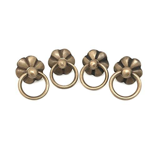Vintage Interior Blumen-Design Set 4 Stück Hänge-Griffe Zug-Hebe-Ringe für Schubladen Schränke antik klassisch Alt-Messing (4)