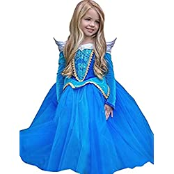 Ninimour Vestido de princesa Aurora Disfraces para Halloween Cosplay Costume para Niñas