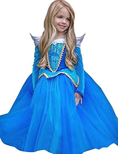 Ninimour Prinzessin Kleid Grimms Märchen Kostüm Cosplay Mädchen Halloween Kostüm Blau, Gr.140 (Alle Halloween Kostüme)