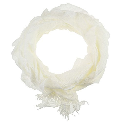 ruffle-knitted-light-weight-elasticated-fabric-autumn-winter-scarf-oblong-shape-white