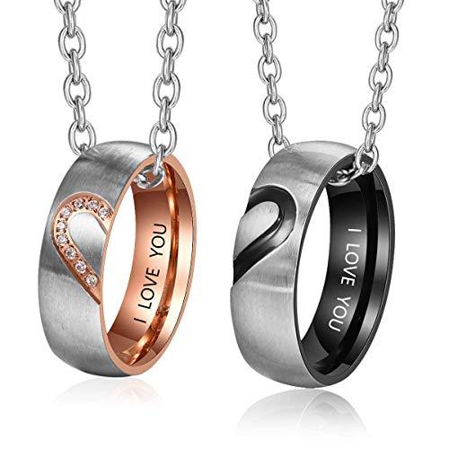Lam Hub Fong Personalisierte Paar Ringe Herren und Damen Hochzeitsringe Hochzeit Verlobungsring Set für Paare Partner Edelstahlringe (Ringpaar mit Kette) (Set Ring Hochzeit)