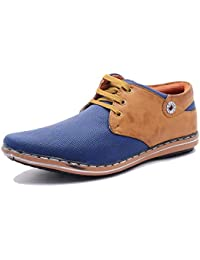 Free Feet Blue & Tan Synthetic Leather Casual Shoes For Men/Boys