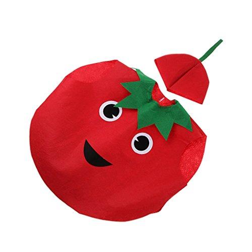 Niños Traje Disfraz Vegetal Vestido Divertido Tela No Tejida Ropa de Tomate para Niños Halloween Cumpleaños