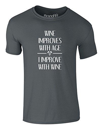 Brand88 - I Improve With Wine, Erwachsene Gedrucktes T-Shirt Dunkelgrau/Weiß