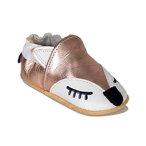 HMIYA Weiche Leder Krabbelschuhe Babyschuhe Lauflernschuhe mit Wildledersohlen für Jungen und Mädchen(6-12 Monate,Gold)