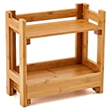 EZOWare Kosmetik Schreibtisch Organizer aus Bambus mit 2 Etagen, Schreibtischbox Schubladen