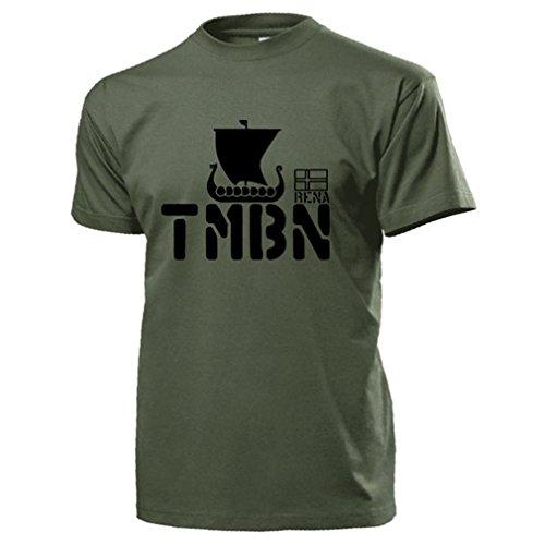 TMBN Telemark Bataljon Wappen Abzeichen Wikingerschiff Elite Einheit Infanterie Bataillon Norwegen Norges forsvar Armee Streitkräfte Spezialeinheit - T Shirt Herren oliv #17300 (Wappen Norwegen)
