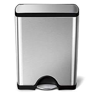 simplehuman cw1816 poubelle rectangulaire p dale acier. Black Bedroom Furniture Sets. Home Design Ideas