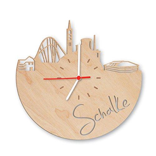 Skyline Schalke Wanduhr aus Birken-Holz Made in Germany Design Uhr aus Echtholz Wand-Deko aus Birke Originelle Wand-Uhr Moderne Wand-Uhr im Skyline Design Wand-Dekoration aus Natur-Holz