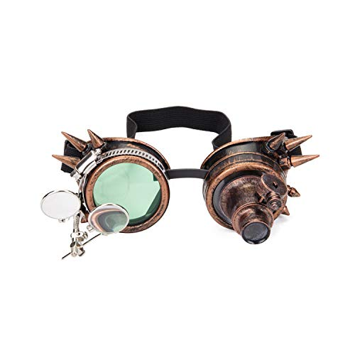 Spiked Steampunk Brille mit Doppelter Okular Lupen Vintage Schweißens Punk Gothic Brillen