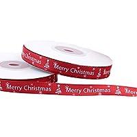 Lumanuby. Cintas Decorativas Grosgrain Ribbon Manualidades Lazos Decoración Embalaje Regalo Cajas Flores Costura Boda Navidad Fiestas Cumpleaños, Longitud 22m / Rollo, Ancho 1cm (Rojo)