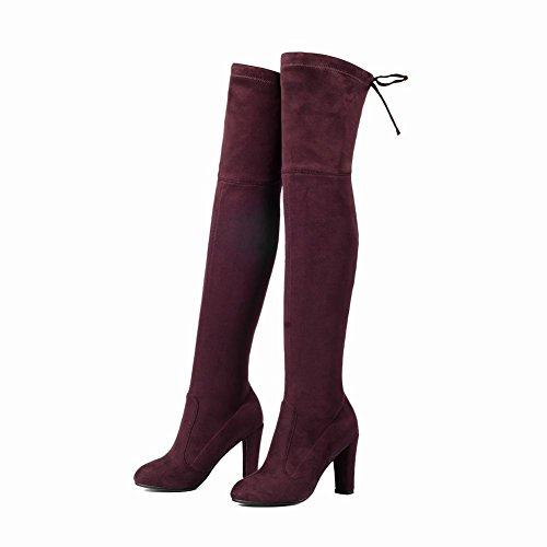 Mee Shoes Damen high heels runde langschaft Nubukleder Stiefel Weinrot