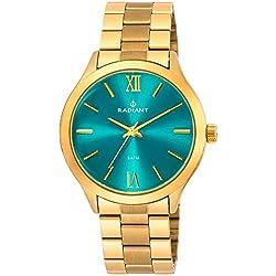 Ref. RA330205 Reloj Radiant Unisex, analógico, caja y brazalete de acero dorado, esfera azul, sumergible 50 metros, garantía 2 años.