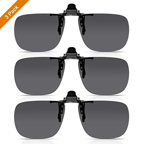 Read Optics Sparset 3er Pack Flip-Up Sonnenbrille: Clip-On Sonnen-Aufsatz für Brillen. Polarisierte UV-400 Sonnenschutz-Gläser für 100% UV-Schutz. Aus grauem bruchfestem Polykarbonat. Für Herren/Damen