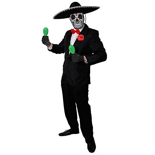 ILOVEFANCYDRESS Deluxe Day of The Death=GRÜNE MARRACAS+Sombrero+Sugar Skull MASLE =Tag der Toten KOSTÜM Verkleidung=Halloween= ()