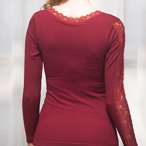 Zhhlaixing Donne Fashion Winter Plus Velvet Thick Deep v Thermal Underwear Shirt Lace Top Silver