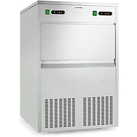 Klarstein Powericer Kings máquina de hielo industrial (700 W, 100 kg/día, depósito de 55 kg, silenciosa, acero