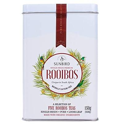 Sunbird Rooibos - Selection de 5 Rooibos nature - Feuilles Entières - Certifié Bio - Sans Caféine - Riche en Antioxydants - Relax - Detox - Healthy Tea - 150g