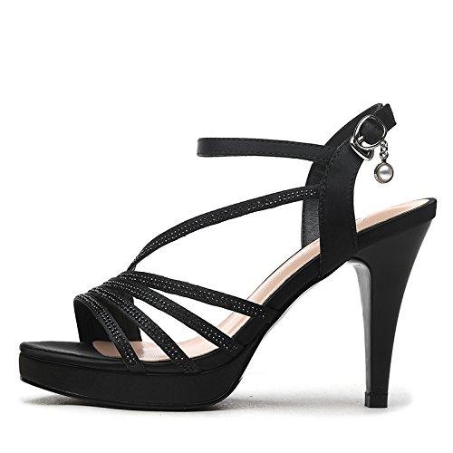 1620560f8804 ... Gtvernh-bouche De Poisson Plat Noir Avec Des Talons Hauts Dames Suscité Chaussures  Avec Une