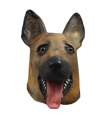Latex Tier Hundekopf -Maske Schäferhund für Kostüm-Abendkleid (Mensch Hund Kostüm)