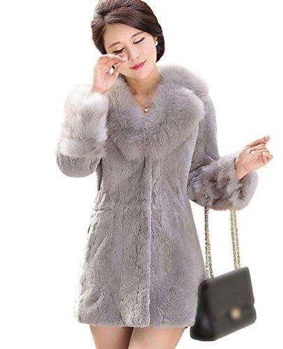Chengyang donna giacca lunga pelliccia sintetica cappotto invernali maniche lunghe giacche (luce grigio, s)