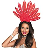 NET TOYS Adorno brasileño con Plumas para la Cabeza | Rojo | Extraordinario arreglo para el Cabello Carnaval en Río de Janeiro para Dama | Mejor elección para carnavales y festividades