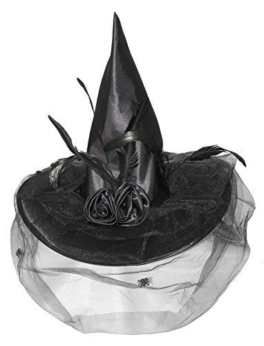 Hut Hexe Schwarz Federn (Foxxeo 35153 | Hexenhut schwarz mit Tüll und)
