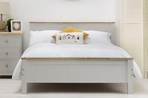 Tatton Solid Wood Country Farmhouse Style Bed Frame by Sleep Design. White or Grey Finish Single/Double/King Size. Shaker Style (King, Grey)