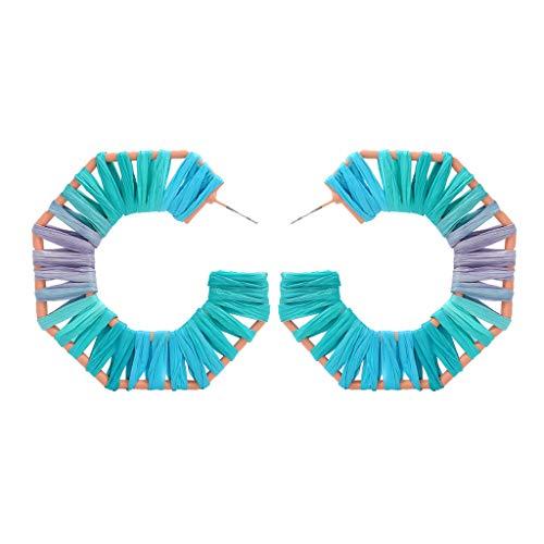 LILICAT_Schmuck Böhmisches Ohrringe Mode Rattan Handgemachte Ohrringe Bunte Rattan Creolen Anweisung Ohrringe Regenbogen geometrische Ohrringe für Mädchen Damen Tinkerbell Tutu