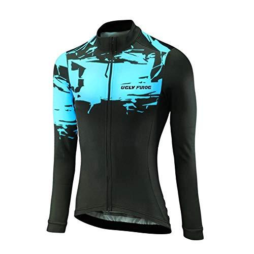 Uglyfrog Winter Fahrradtrikot Langarm Pro T/Thermo Radtrikot/Full Zip/Atmungsaktiv/Winddicht/Reflektoren