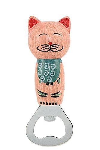 FiveSeasonStuff® Abridores de botellas magnéticas, abridores de botellas de cerveza con imanes, abridores de botellas de acero inoxidable, gato de madera de dibujos animados en forma de abridores de botella, regalos creativos/ decoraciones, para el hogar/ Cocina/ Bar/ Restaurante/ KTV/ Party/ Outdoors (Rosado)