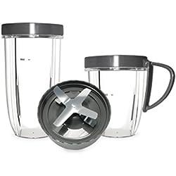 NUTRIBULLET - Kit accessoires 600 W et 900 W - Pack accessoires pour extracteur de jus Nutribullet - Kit gobelets, couvercles et lames supplémentaires pour extracteur de nutriments Nutriblast ,Gris