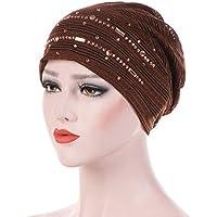 Gorras Mujer Invierno ❄ Sonnena Mujeres Rhinestone India Hat Sombrero de Volante musulmán Cáncer Chemo Sombrero Envoltura de Turbante