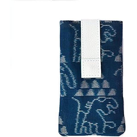 AT IKAT Indian De las mujeres Teal Azul & Blanco Mobile Bolsa con manejar / bucle para el auricular por iPhone
