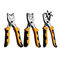 3PCS 3 in 1 Multi-function Card Leather Belt Hole Punch Eyelet Plier Snap Button Setter Tool Kit