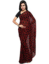 Four Seasons Georgette Saree (Fsp206_Black & Red)