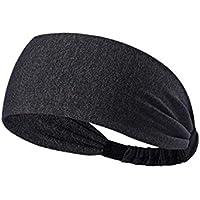 Demarkt Sport Stirnband Schweißband elastisch Haarband Head Wrap für Yoga Running Fußball Dunkelgrau