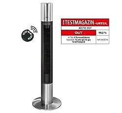 H/öhe: 107 cm Bestron Design-Turmventilator mit Schwenkfunktion 50 W Schwarz//Grau